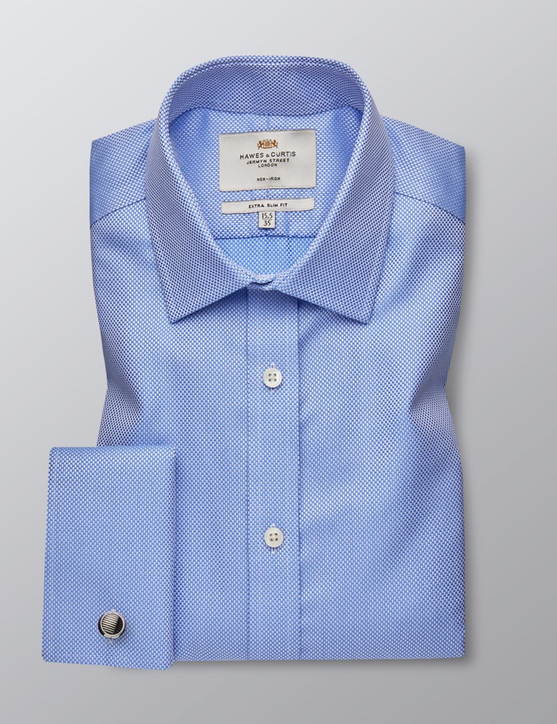 Men's Formal Blue Fabric Interest Extra Slim Fit Shirt - Double Cuff - Non Iron