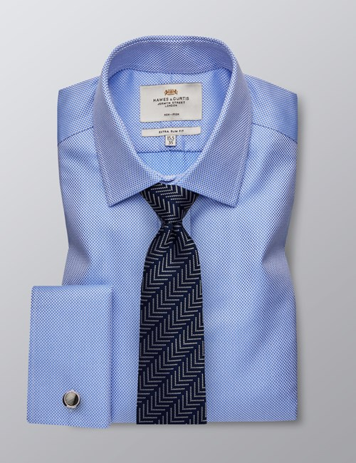 Men's Business Blue Fabric Interest Extra Slim Fit Shirt - Double Cuff - Non Iron