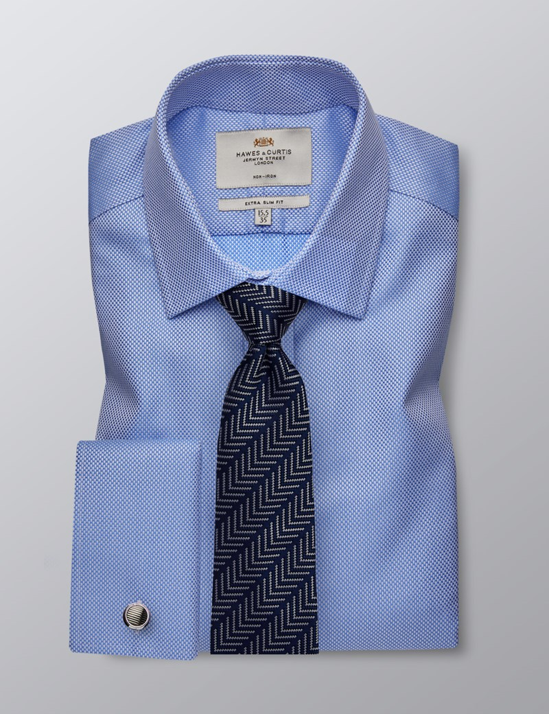 Men's Dress Blue Fabric Interest Extra Slim Fit Shirt - French Cuff - Non Iron