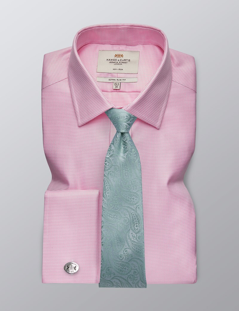 Men's Dress Pink Fabric Interest Extra Slim Fit Shirt - Double Cuff - Non Iron