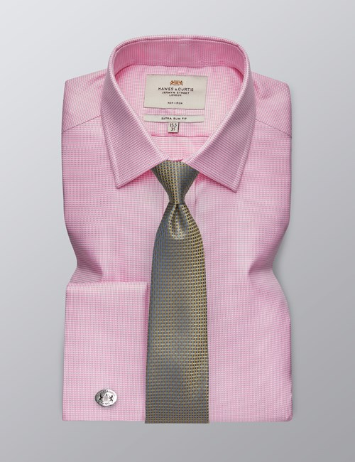 Men's Formal Pink Fabric Interest Extra Slim Fit Shirt - Double Cuff - Non Iron