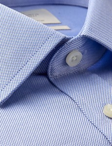 Men's Blue Pique Extra Slim Fit Shirt - Double Cuff - Easy Iron