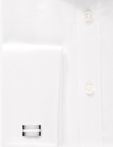 Men's Formal White Pique Extra Slim Fit Shirt - Double Cuff - Easy Iron