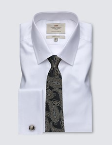 Men's White Pique Extra Slim Fit Dress Shirt - Double Cuff - Easy Iron