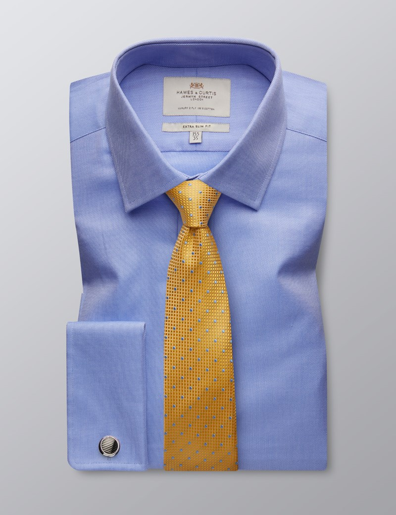 Men's  Blue Pique Extra Slim Fit Business Shirt - Double Cuff - Easy Iron