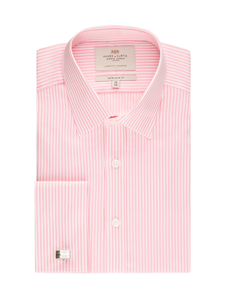 Men's  Pink & White Bengal Stripe Extra Slim Fit Business Shirt - Double Cuff - Easy Iron