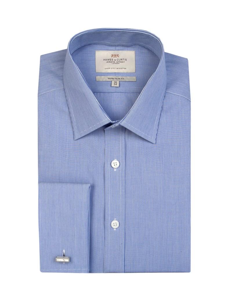 Men's Blue & White Fine Stripe Extra Slim Fit Shirt - Double Cuff