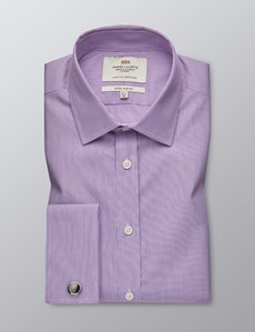 Men's Lilac & White Fine Stripe Extra Slim Fit Shirt - Double Cuff