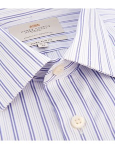 Men's Formal Lilac & White Multi Stripe Extra Slim Fit Shirt - Double Cuff - Easy Iron
