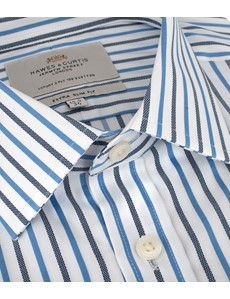 Men's Formal Navy & Blue Multi Stripe Extra Slim Fit Shirt - Double Cuff - Easy Iron