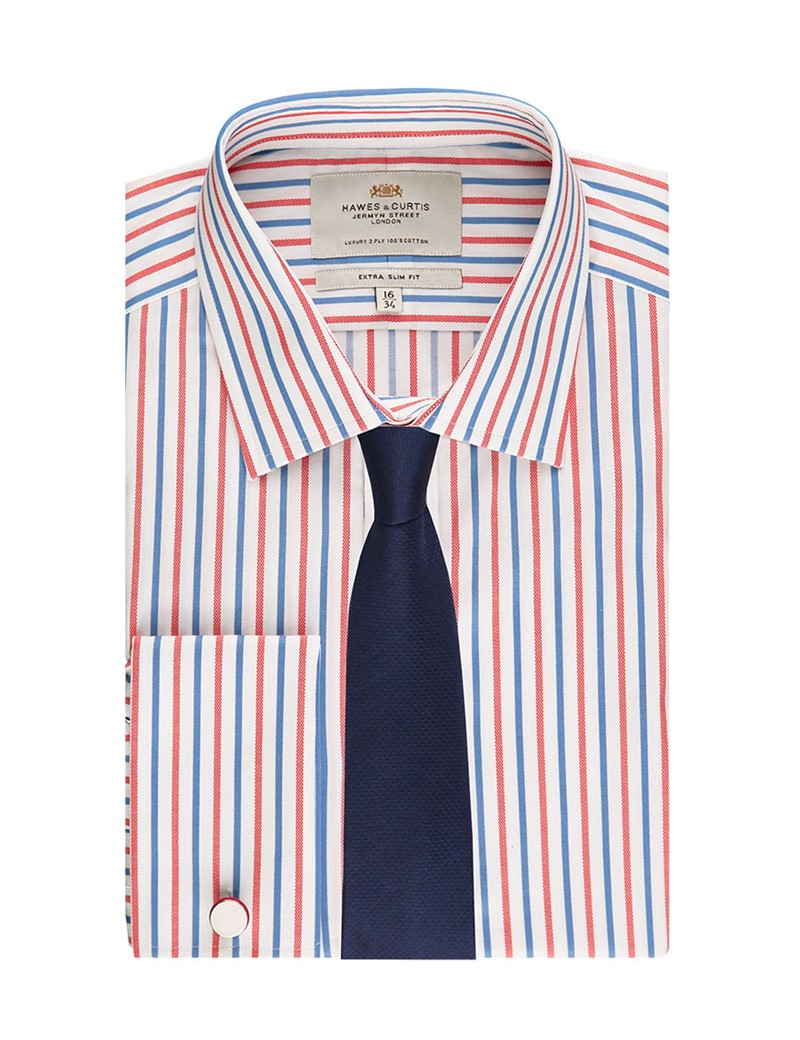 Men's Formal Red & Blue Multi Stripe Extra Slim Fit Shirt - Double Cuff - Easy Iron