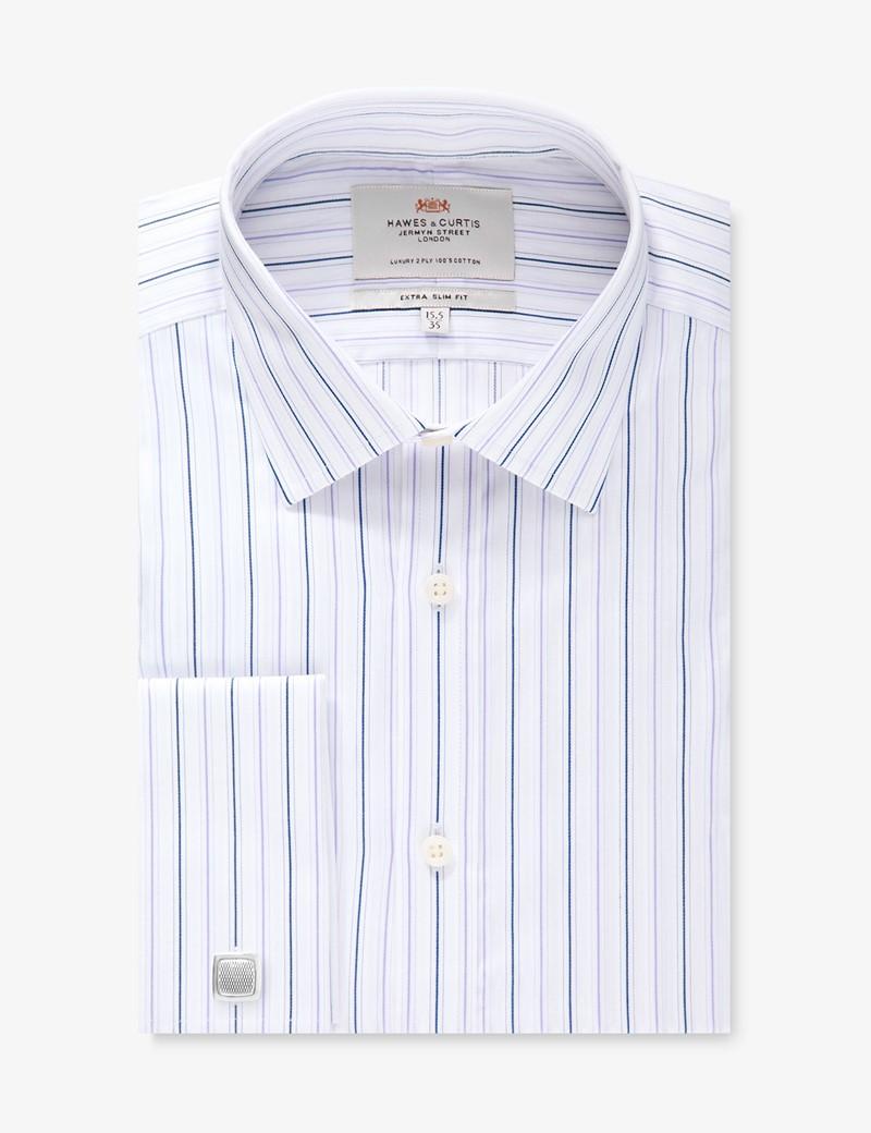 Men's Purple & White Multi Stripe Extra Slim Fit Shirt - Double Cuff - Easy Iron