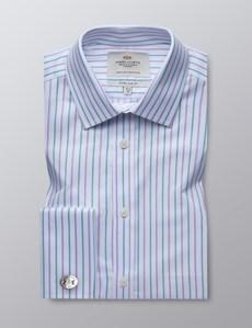 Men's White & Purple Multi Stripe  Extra Slim Fit Business Shirt - Double Cuff - Easy Iron
