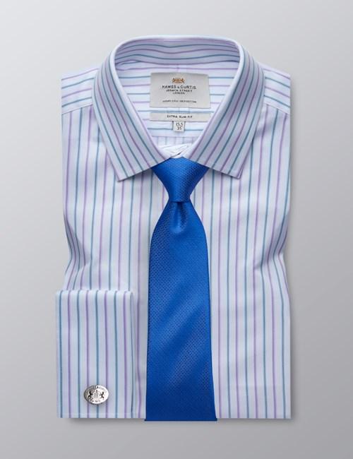 Men's White & Purple Multi Stripe  Extra Slim Fit Dress Shirt - French Cuff - Easy Iron