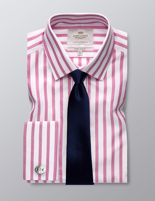 Men's Pink & White Stripe Extra Slim Fit Dress Shirt - French Cuff - Easy Iron