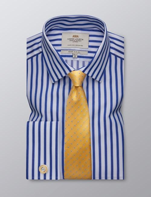 Men's Dress Blue & White Bold Stripe Extra Slim Fit Shirt - French Cuff - Easy Iron