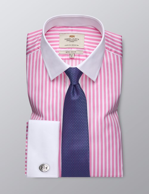 Men's Business Pink & White Bengal Stripe Extra Slim Fit Shirt - Double Cuff - Easy Iron