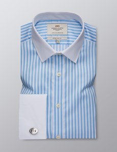 Men's Formal Blue & White Bengal Stripe Extra Slim Fit Shirt - Double Cuff - Easy Iron