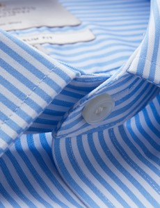 Men's Dress Blue & White Bengal Stripe Extra Slim Fit Shirt - French Cuff - Non Iron