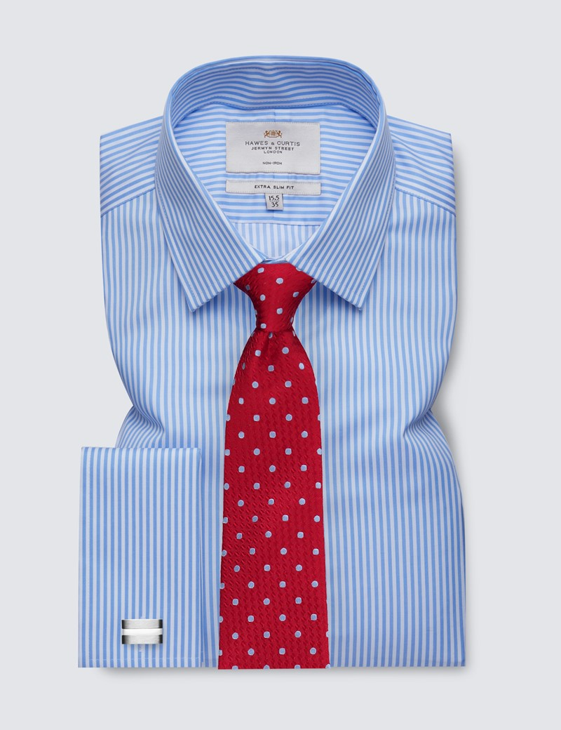 Men's Business Blue & White Bengal Stripe Extra Slim Fit Shirt - Double Cuff - Non Iron