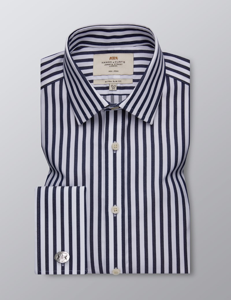 Men's Business Navy & White Bold Stripe Extra Slim Fit Shirt - Double Cuff - Non Iron