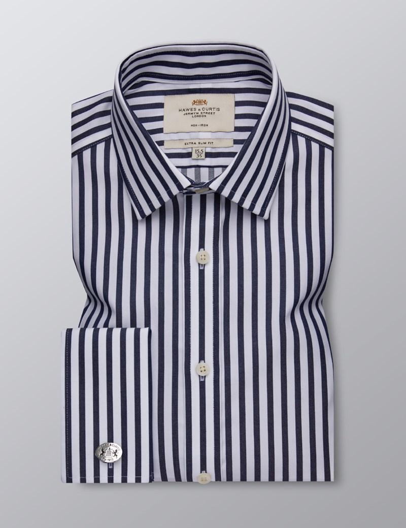 Bügelfreies Businesshemd - Extra Slim Fit - Manschetten - Streifen blau & weiß