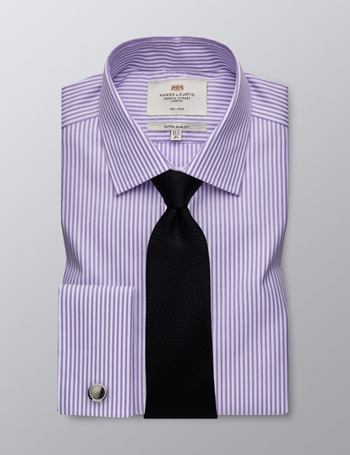 Men's Business Lilac & White Stripe Extra Slim Fit Shirt - Double Cuff - Non Iron