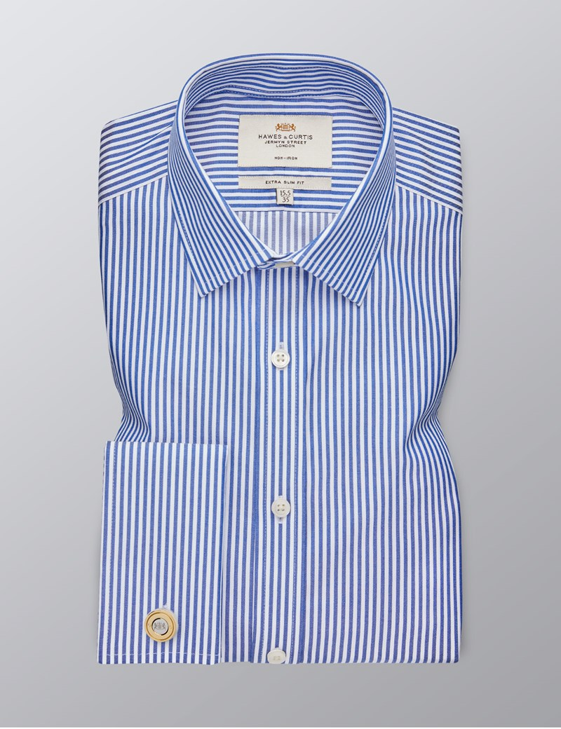 Men's Dress Navy & White Stripe Extra Slim Fit Shirt - French Cuff - Non Iron