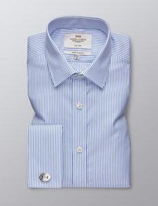 Men's Formal Blue & White Herringbone Stripe Extra Slim Fit Shirt - Double Cuff - Non Iron