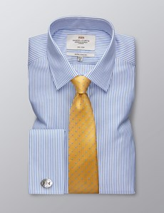 Men's Dress Blue & White Herringbone Stripe Extra Slim Fit Shirt - French Cuff - Non Iron