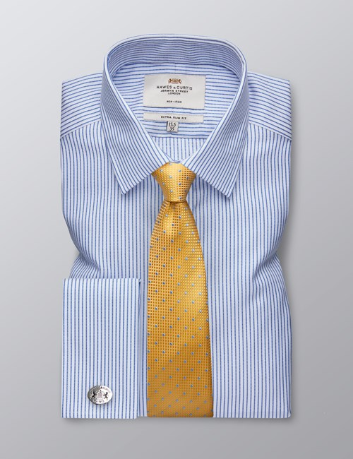Men's Formal Blue & White Herringbone Stripe Extra Slim Fit Shirt - Double Cuff - Non Iron