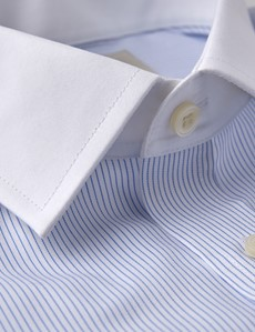 Men's Dress Blue & White Fine Stripe Extra Slim Fit Shirt - French Cuff - Non Iron