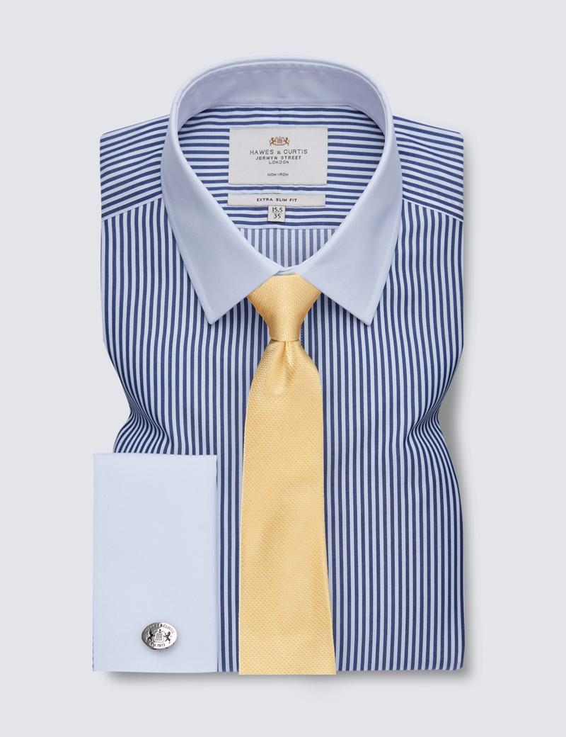 Non Iron Navy & White Bengal Stripe Extra Slim Fit Shirt with White Collar & Cuffs
