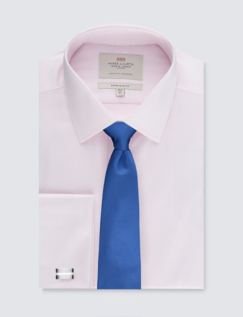 Men's Dress Pink Textured Extra Slim Fit Shirt - French Cuff - Easy Iron