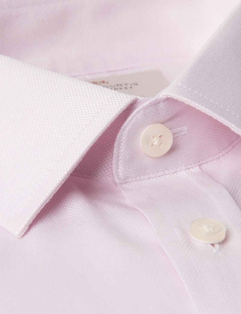Men's Formal Pink Textured Extra Slim Fit  Shirt - Double Cuff - Easy Iron