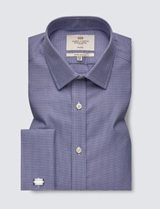 Bügelfreies Businesshemd – Extra Slim Fit – Manschetten – Dobby navy weiß
