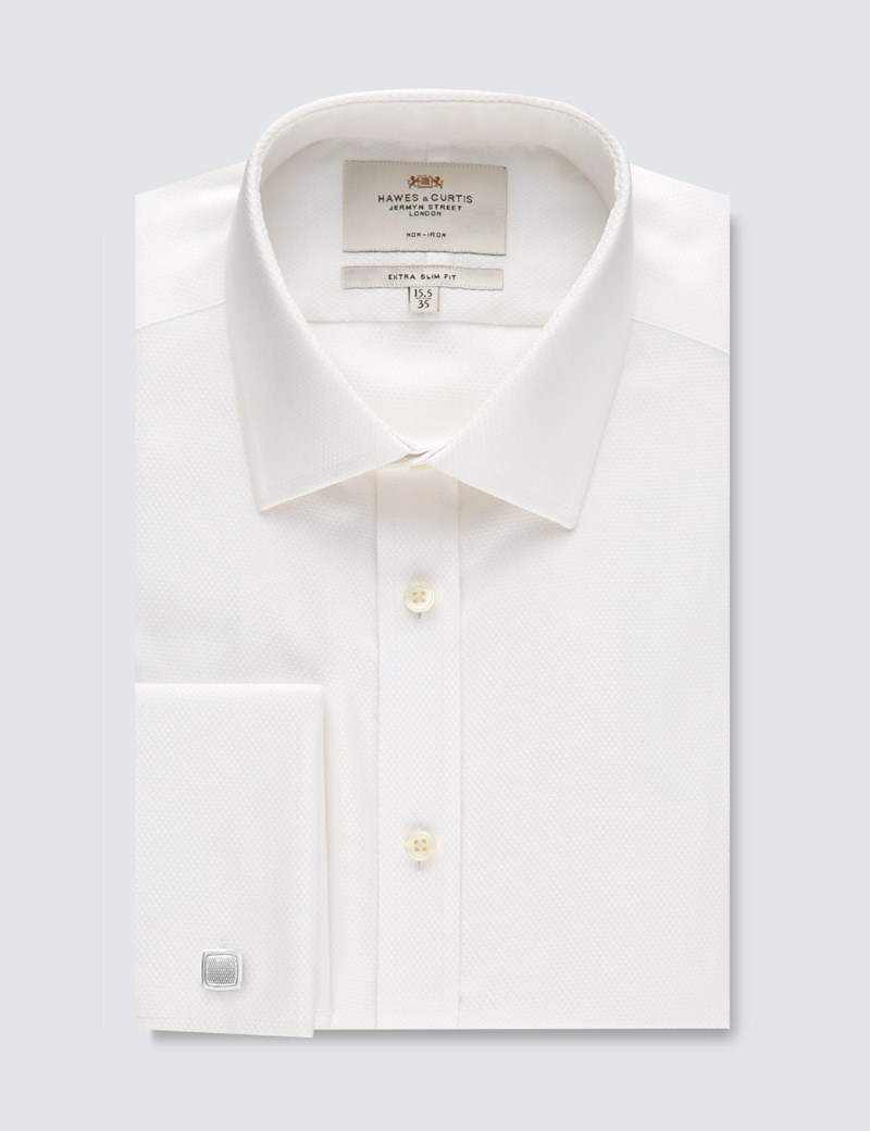 Men's Dress White Extra Slim Fit Shirt - French Cuff - Non Iron