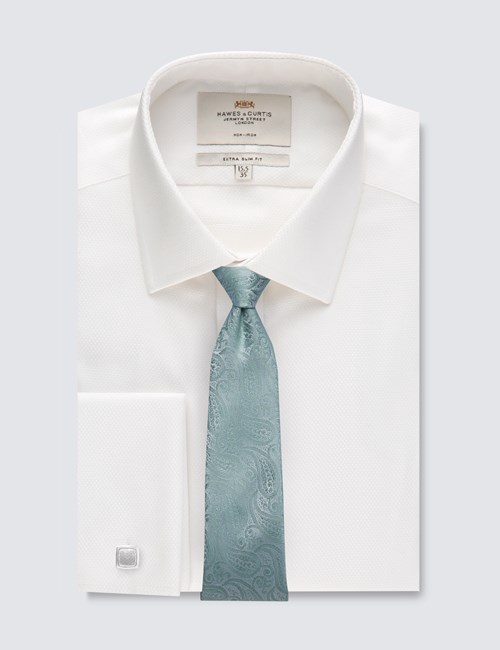 Men's Formal White Extra Slim Fit Shirt - Double Cuff - Non Iron