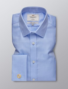 Men's Business Blue & White Textured Dobby Extra Slim Fit Shirt - Double Cuff - Non Iron