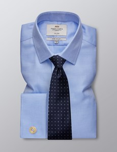 Men's Dress Blue & White Textured Dobby Extra Slim Fit Shirt - French Cuff - Non Iron