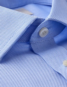 Bügelfreies Businesshemd – Extra Slim Fit – Manschetten – Wabenstruktur blau & weiß