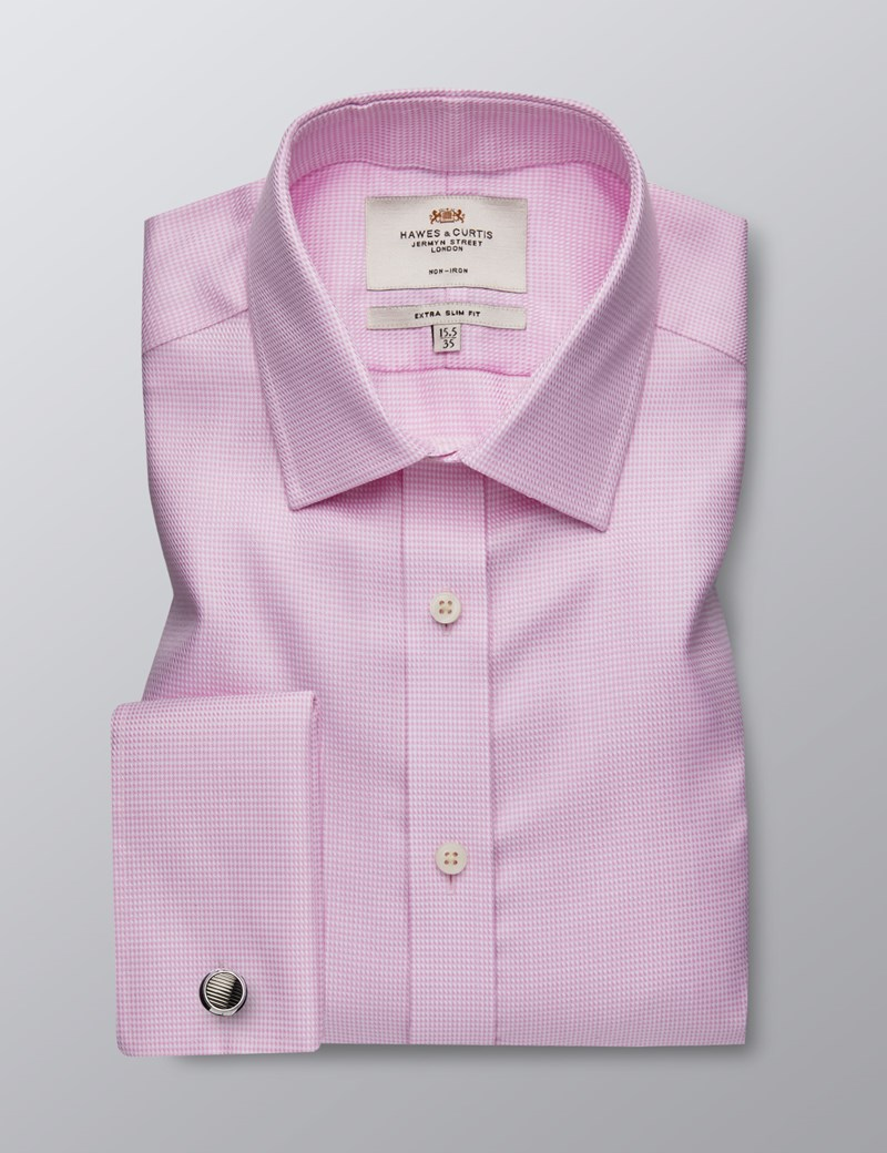 Men's Dress Pink & White Fabric Interest Extra Slim Fit Shirt - French Cuff - Non Iron
