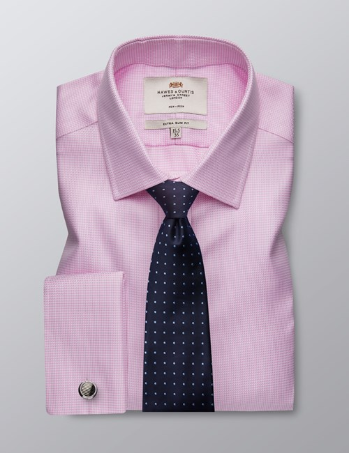Men's Business Pink & White Fabric Interest Extra Slim Fit Shirt - Double Cuff - Non Iron