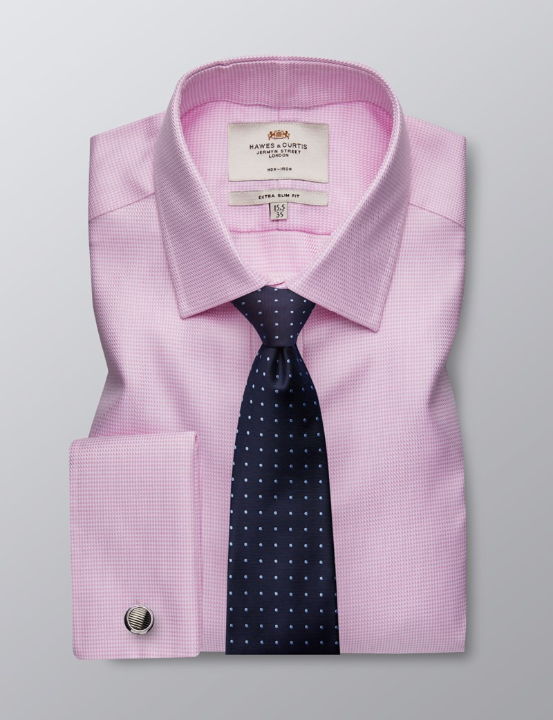 Men's Formal Pink & White Fabric Interest Extra Slim Fit Shirt - Double Cuff - Non Iron