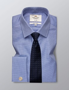 Men's Business Royal Blue & White Dobby Extra Slim Fit Shirt - Double Cuff - Non Iron