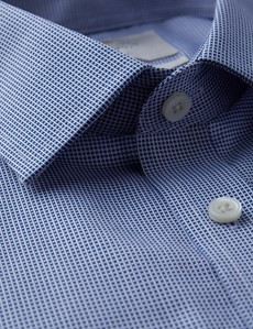 Men's Dress Royal Blue & White Dobby Extra Slim Fit Shirt - French Cuff - Non Iron