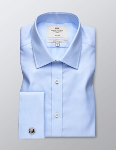 Men's Dress Blue Extra Slim Fit Shirt - French Cuff - Non Iron