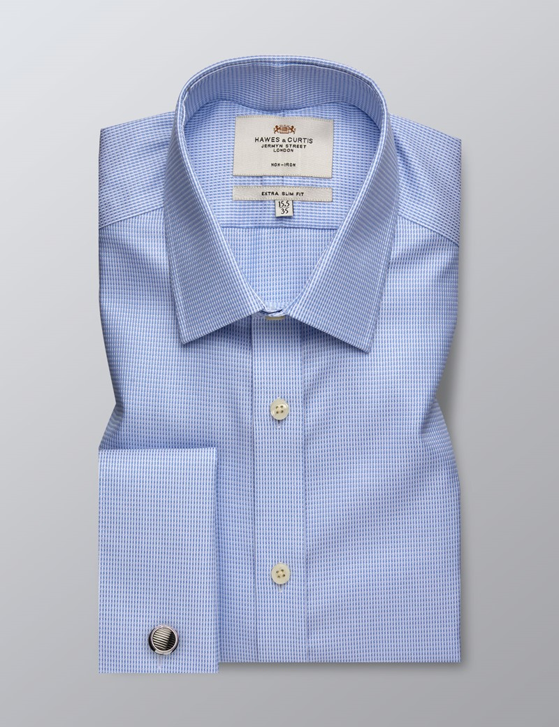 Men's Formal Blue & White Dobby Extra Slim Fit Shirt - Double Cuff - Non Iron