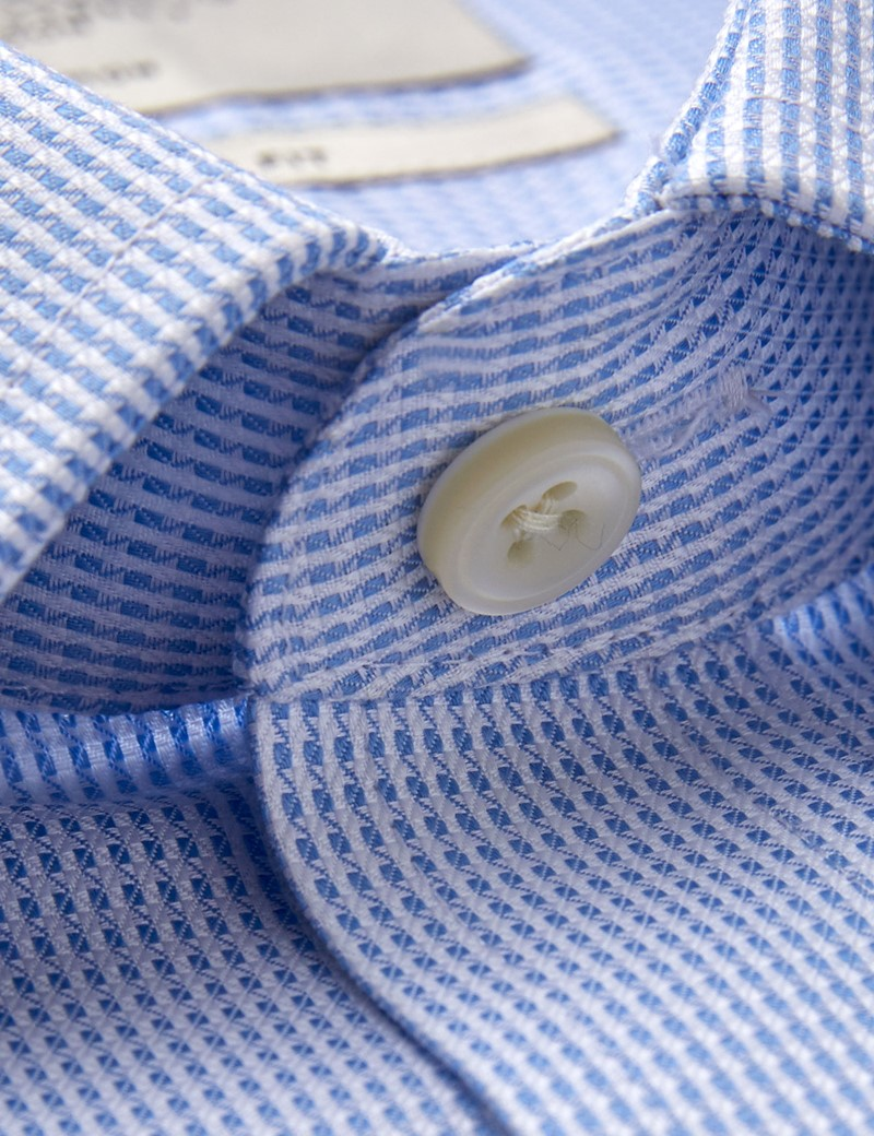 Men's Dress Blue & White Dobby Extra Slim Fit Shirt - French Cuff - Non Iron