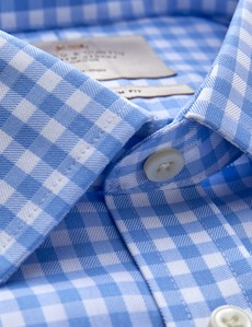 Men's Business Blue & White Check Extra Slim Fit Shirt - Single Cuff - Non Iron